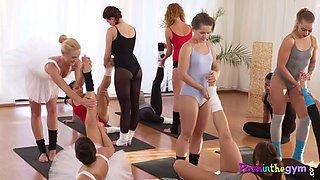 Ballerinas sucking cock in a gym threeway