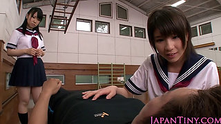 Petite japanese schoolgirls cocksuck in trio