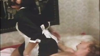 Insatiable maid gives head and then wants sex doggy style