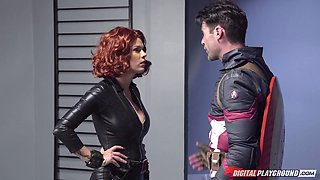 Superhero parody where Black Widow fucks Captain America