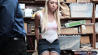Teen blonde shoplifter suspect gets her punish fuck