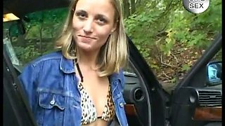 Sexy blonde euro amateur gets seduced in the black BMW