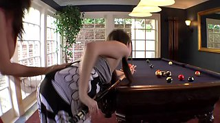 Adorable lesbian girls horny while playing pool do it hungrily on the table