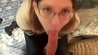 shy girl with glasses sucks brother's cock