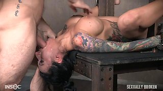 sex slave with big boobs is fucked so hard