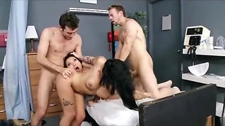 Groupie girl hospital nurse start orgy with two band members