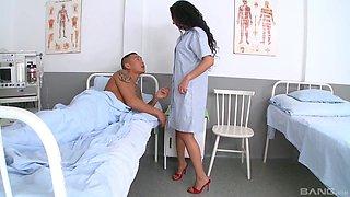 Horny nurse Janet Joy wants to seduce a handsome patient