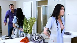 Asian maid gets extra cash to fuck the boss with his wife's lingerie on