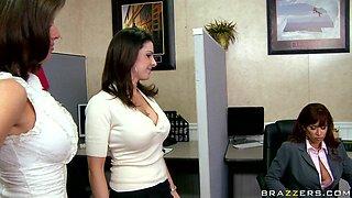 Three Babes At Work Making Joke On Boss