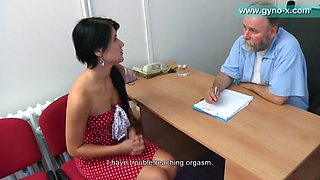 Flabby old doctor checking her pink vagina