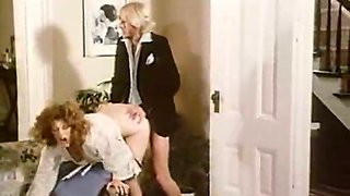 Curvy ginger MILF gets poked in threesome and shows lesbo action