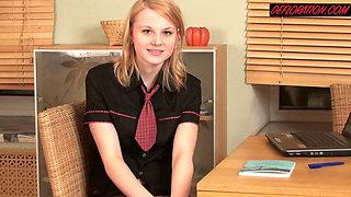 Sexy Samantha blonde virgin hot schoolgirl