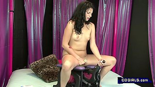 Curly headed teen goes nuts riding a rocker sex machine to multiple orgasms