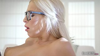 Lovely petite blonde fucks colleague at office space for fun