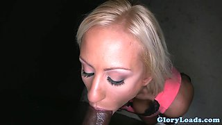 Bigtitted gloryhole babe sucking and jerking
