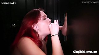 Hot girl next door redhead sucking in a gloryhole