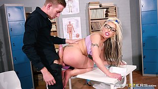 Geeky blonde Barbie Sins is interested in a fuck with a fellow