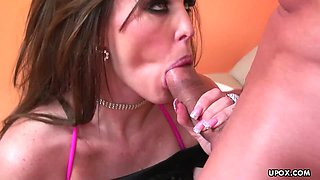 Sex bomb gets plowed deep and then slurps up his sperm