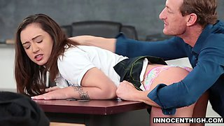 Spoiled teen is forced to bang the teacher for a good mark