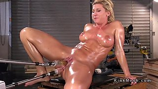 huge tits oiled mature anal fucks machine