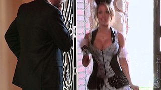 Divine blonde in stockings Capri Cavanni gets her shaved cunny drilled