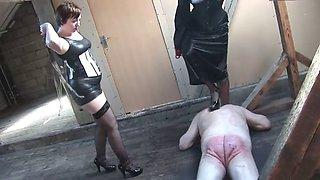 Three mistress dominate slaves
