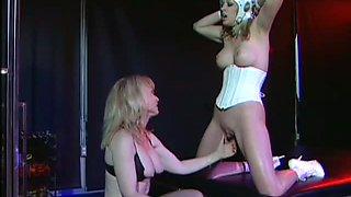 Mature Dominatrix Nina Hartley Eats Her Lesbian Sex Slave's Pussy