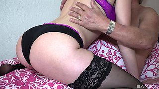 Blonde MILF babe Sarah Smith rides a cock and strokes her clit