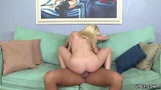 Blonde slut riding like she wants to cum so damn bad