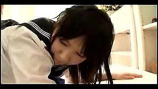 Sweet Asian schoolgirl gets licked and gives head before he
