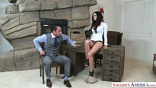Lady boss Kendall Karson seduces partner and gets her pussy fucked right on the table
