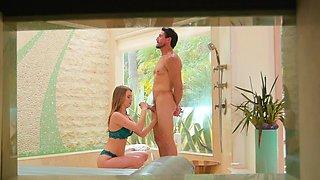 Beautiful masseuse gives massage and fucked on nuru bed