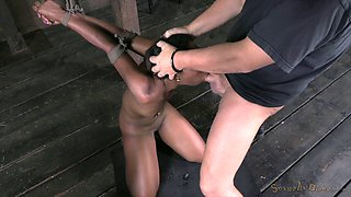 Black slave girl bends over for a master's erected too