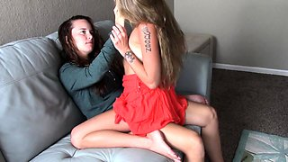 Step sisters rough lesbian strap on sex