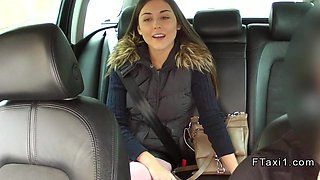 Beautiful Czech teen bangs in fake taxi