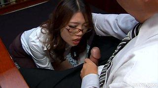 Sassy Asian secretary Ibuki gives blowjob to her boss