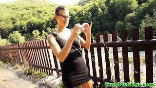 Pulled flashing amateur sucking cock
