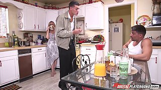 Housewife Julia Ann needs dick and gets it in the kitchen