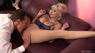 Doggy style drilling action for a hot blonde with a juicy pair of tits