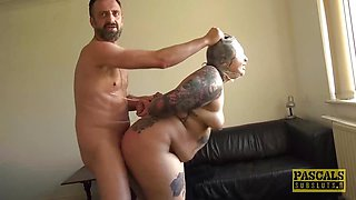 Horny Tattooed plumper dominated and fed with dom spunk