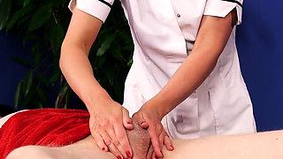 Cfnm masseuse tugs cock