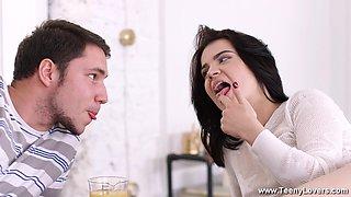 Russian babe Felicia Rain loves the feeling of warm sperm on her tits