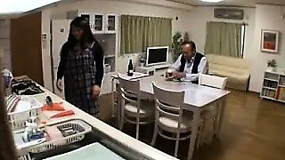Slender Japanese housewife seduces a guy to fulfill her sex