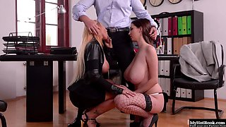 Kyra Hot helps to hoist up Lucie Wildes team up to take their boss cock