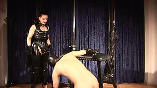 Mistress Silvia trains slave to suck cock and eat cum