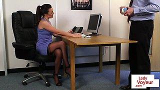 Stockinged voyeur instructing tugging guy