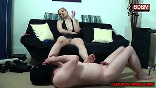 German bdsm amateur slave by foot fetish smoking femdom