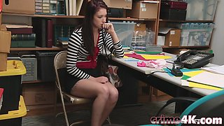 Teen thief Naiomi Mae gets vaginally punished by a security guard in his office
