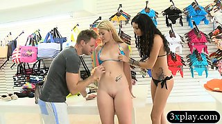 Tight blond babe try on bikini and banged in local store