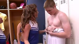 CFNM fourway cheerleaders railing voyeur cock in lockerroom